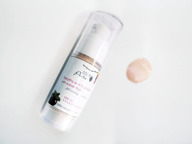 100 PURE Healthy skin foundation with super fruits white peach