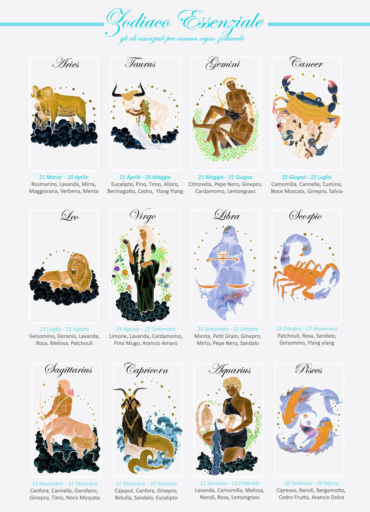 Zodiaco Essenziale oli essenziali per i 12 segni zodiacali